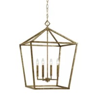 A traditional design with a touch of contemporary charm, this eye-catching four-light foyer pendant lends a classic touch to your mudroom or hall. Featuring an open geometric metal frame, in a shining metallic finish, this chain-hung design showcases a classic candelabra-style light for a charismatic glow. It accommodates four 60 W lightbulbs (not included) and is hardwired to your home. This industrial-inspired piece is compatible with both sloped ceilings and dimmer kits.