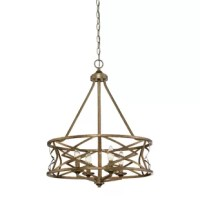 Crafted of metal in an antiqued finish, this charming chandelier features a round, molded pendant holder, four slanted supports, and an elaborate open drum shade showcasing zigzag metal bands which cast subtle shadows all around. A slender down rod holds in place four candle-style lights complete with faux drip trays to round out the design. An adjustable length of chain suspends the unit from a sloped ceiling-compatible canopy above, while four 60 W E12 candelabra bulbs (not included) diffuse...