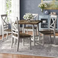 With its smooth clean lines and comfortable X-back chairs. This Duplessis 5 Piece Dining Set has a flexible kind of styling that gives it a go-anywhere look.