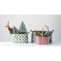The holidays are a busy time, and between the extra cooking, wrapping, and other supplies, it's all too easy to need a little bit of help getting organized. Thankfully, this set of three buckets is perfect for helping straighten up all that holiday mess. Crafted from metal, each bucket features a bright holiday pattern on the outside, while the interior with its metallic finish and wood dowel handles lend these pieces a farmhouse look. A variety of sizes enables you to easily tuck away clutter...
