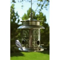 This product provides a warm amber glow from the 3 LED around the rim. This patented solar birdfeeder aluminum construction with durable pewter and copper finish and clear glass panes.