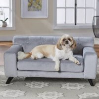 Meet Bella, a 20-pound ShihTzu who loves to sprawl out on her dog sofa. This velvety-plush fabric is so soft. The Heitman offers a removable and washable seat cushion cover and its low profile arms are generously upholstered for dogs who love to lean. The biscuit-tufted seat back and the 3