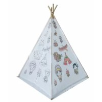 Graffiti teepee tent arrives as a blank canvas with different graphics schemes. The pattern of graffiti schemes includes the Indian tribe; ocean animal and dinosaurs family, a paintbrush with different colors included (though you may want to pick up extra at the craft store).LED lights are optional with additional purchases.