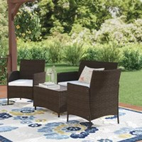 Transform your outdoor space into the perfect outdoor hideaway with this four-piece seating set.  Includes one sofa, two chairs, and one table, making the perfect balance for any outdoor activities you may plan. Using PE rattan ensures that this set can be used year-round without worry while glass tabletop and removable cushion covers make cleaning and maintenance simple and fast. Don't wait to turn your outdoor space into your own secret garden.