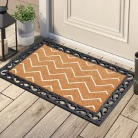 This doormat inlays are inserted in a rubber tray doormat with beautiful scroll border. Crafted of all natural rubber and coir this doormat is an excellent decorative accent for your doorway and it also help remove dirt, debris, mud and moisture from your shoes. Flocked with fade-resistant dyes this doormat lasts longer even after rigorous wiping. The rubber frame holds the natural coir steady during inclement weather and vigorous shoe wiping.