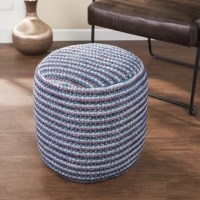 Soften your style with this patterned fabric pouf. Dotted lines in multicolored hues grace the top and encircle the sides of this patterned pouf, crafting a bohemian look. Tranquil blue and purple finish complement your tribal design. Prop your feet up or place beside your sofa, adding a cozy element to your living space.