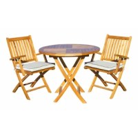 This teak folding patio table is all about options and flexibility of use. The umbrella cap fits in the top of the table when an umbrella is not being used. The space-saving folding design makes for easy storage when needed. The unfinished look of these teak folding armchairs gives them a casual look that is offset by the quality and durability of the wood. This chair's lightweight construction allows it to be moved around easily and serve a variety of functions at a great value. You'll love...