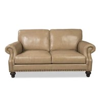 This loveseat features ultra-plush blend down seat cushions, semi-attached box border backs and classic turned legs. The paneled arms and bottom rails are accented with nailhead trim to frame the curves and shape of this handsome sofa. You can nap, snuggle up, or read to your heart's content.