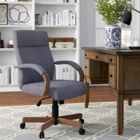 An updated classic, this conference chair lets you tackle your to-do list in style. Crafted from wood, its frame features a driftwood finish and can support up to 275 lbs. Up above, the square seat and full back are padded with foam and upholstered with linen fabric in a slate gray hue for an understated and approachable look. A pneumatic lever lets you tweak its seat height between 19