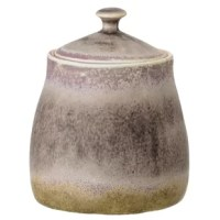 This stoneware jar has a beautiful speckled finish that is created by the addition of a reactive glaze. The glaze makes unique designs making each piece one of a kind works of art. Display it proudly on the kitchen table as it complements the rest of the table decor.
