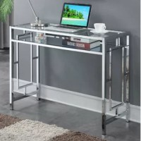 Work in style with the desk with a shelf. With its innovative design, it flaunts a contemporary style that will refresh your home office or den. Both the tabletop and shelf are crafted from tempered clear glass, making it a breeze to locate all your work supplies. The chromed metal frame with signature geometric side designs makes this item sturdy enough for your laptop, a lamp, and your notebooks. Get excited to work once again and obtain this chic unit today! Set up is quick and easy...