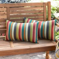 Add a stylish and contemporary accent to your outdoor furniture with this pillow. Each pillow is overstuffed for added comfort, strength and durability, with a soft polyester fill, made from 100% recycled, post-consumer plastic bottles. The exterior shell is made from a 100% polyester UV-resistant outdoor fabric.