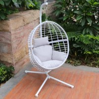This chair is the perfect addition to your backyard, patio, or garden. It comes with its own base, so you can put it anywhere. Single polyester cushion while you read, nap, or just enjoy a little time to yourself. Supported by a durable steel stand, this hanging egg chair will quickly become a favorite retreat for everyone in the family.