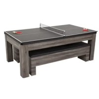 Add the ultimate multi-functional table to your game room that is ideal for the entire family. The table includes billiards, table tennis, and a dining table with dual storage bench seating all in one. It features a modern contemporary gray wood grain finish with heavy-duty quality construction. Two upholstered storage benches offer comfortable seating and ample storage for all of your gaming accessories. Remove or flip over the dining top to instantly convert your table to a full-size billiard...