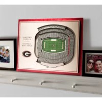 The product adds dimension to your decor. This item is made up of five layers of engineered wood, to create a three-dimensional work of stadium art that commands attention. The pre-cut notch on the back makes this 3D wall decor easy to hang. The entire piece is edged in the official team color to create a high-contrast framing effect. The item is an essential accessory for any fan cave and makes a great gift.