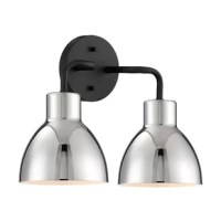 If you're looking to fix up your fixtures in the guest bath or master suite, this 2-light vanity light is a great way to add style and illumination to your morning routine. Crafted from metal, it features a circular backplate in a matte black finish. Three sleek arms give it streamlined appeal, while its bowl-shaped shades in a neutral hue complement any color palette in your home. Under the shades, three medium-base bulbs up to 100W (not included) diffuse light that can be reversed upwards....