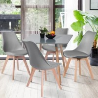 The set built to last with high-quality and sturdy material: MDF top, solid wood legs, PU cushion seat. Perfect for multifunctional usage as dining table set, leisure coffee table set, tea table set or used in the conference and living room.