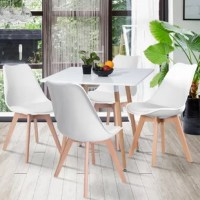 Bring streamlined, modern style to your dining ensemble with this four-piece dining chair set! Crafted of heavy-duty plastic, each chair features an ergonomic backrest with molded sides and a contoured seat, while four flared beechwood dowel legs sport a light, natural stain. Enveloped in polyester-blend upholstery, a foam-filled seat cushion offers added comfort and support.