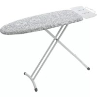 The ironing board is your ideal space-saving solution. Its thick steel legs allow for exceptional stability. The large iron rest feature holds an appliance securely and provides extra hanger space. The board also comes with an ultra-thick foam pad with cover. It also comes with the easy to use height adjustment paddle with a leg locking device.