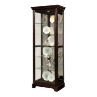 Whether housing antiqued heirlooms in the den or keeping dining room essentials on display, this classic curio cabinet is a must-have for your home. Constructed from solid wood, it offers a traditional look with molded trim and a neutral solid finish. Its mirrored back and interior lights highlight six shelves, the top five of which are glass.