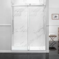 The height of modern shower chic! Two durably crafted bypass sliding glass shower doors glide effortlessly to the left or right on artful chrome roller hardware with contemporary pull handles. Perfectly sized for alcove shower, with easy installation and adjustability.