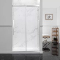 Two durably crafted bypass sliding glass shower doors glide effortlessly to the left or right on artful chrome roller hardware with contemporary pull handles. Perfectly sized for a 48
