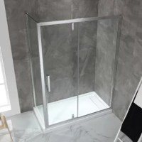 Expand your horizons with the shower. A pivoting glass shower door and the glass side panel is strikingly framed in contemporary chrome, for the perfect modern and airy corner shower enclosure feel. Premium pivoting hardware and a smart reversible door design give you a choice of left or right-hand shower door set-up.