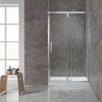 Expand your horizons with the shower collection. A pivoting glass shower door is strikingly framed in contemporary chrome, for the perfect modern and airy bathroom feel. Premium pivoting hardware and a smart reversible door design give you a choice of left or right-hand shower door set-up.