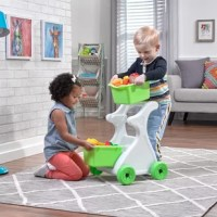 Motor skill development and imaginative social play just got more fun. Kids can take this shopping cart to the pretend grocery store to stock up on food and other goodies necessary for a day full of imaginative play. Great for added put-and-take play, the two large removable baskets keep treasures safe and easily stored when playtime is done. They are made in the USA.