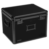 This sturdy, locking file box has built-in metal rails to accommodate either legal or letter-size hanging file folders, providing a safe and attractive place to store files.