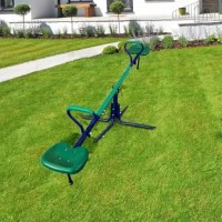 Take outdoor play to the next level with this spinning seesaw. A traditional seesaw with a twist. This unique seesaw can spin 360 degrees while going up and down. Whether your children ride it in circles, in a frog-like motion, or choose to bounce while spinning--our play set fills your backyard with laughter instantly. Great for all year round, it features easy to clean seats and weather-resistant ropes. Made with a durable steel frame, this seesaw set combines safety, style, comfort, and fun....