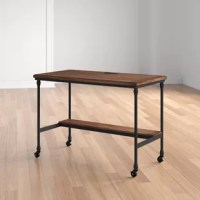 Rustic character meets modern function with this clean-lined writing desk, featuring a built-in USB port and outlets up top so you can charge electronics as you tackle your to-do list. A black finish outfits the tubular metal frame for understated appeal, while the top and recessed lower shelf are made from manufactured wood with veneers in a rustic brown finish for a hint of warmth. Locking caster wheels below round out the design and offer must-have mobility. Measuring just 30'' H x 42'' W x...