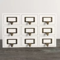 Hide away your odds and ends in this Faisal Desktop Solid Wood Apothecary Supplies Organizer. Each piece includes 9 drawers, each with a metal label holder. This rustic chic set of drawers is perfect to hold paper clips, pushpins or other desk accessories. Deep perfect for your home office desktop!