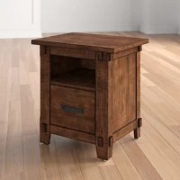 Round out your office in rustic style with this clean-lined filing cabinet. Crafted from solid wood with veneers, this piece sports a rustic walnut finish with distressed details for a warm and weathered look. The top and open upper shelf offer space to display books, photos, and more, while a file drawer below accommodates a few letter-sized documents.