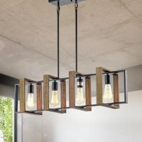 This black iron and wood light is a perfect fit in the modern farmhouse kitchen or dining room. The wrought iron hardware gives it a classic look that blends in today's design trends. Use four LED, dimmable, or Edison bulbs to create a custom look and to illuminate your space. The included rods can be adjusted for a custom hanging position.