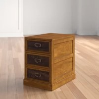Keep important documents organized and in one place with this clean-lined file cabinet. Crafted from solid poplar wood with cherry veneers, this piece sports a medium brown finish for a warm and classic look. The top drawer offers a spot to tuck away essential office supplies, while the lower drawer accommodates letter-sized papers. Measuring just 23.25'' H x 23'' W x 16.5'' D, this compact design fits easily in any space.
