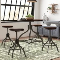 The perfect option for your dining room and open concept, eat-in kitchen alike, this five-piece counter height dining set lends loft-worthy style to your space! Founded on a rustic metal base in a powder-coated dark bronze finish, the adjustable height dining table features four curved legs and threaded column support. The wood tabletop features a planked surface for an industrial vibe, while each of the four matching chairs echoes the adjustable aesthetic with their crank handles and lockable...