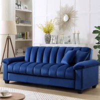 Nothing says class, sophistication and smooth comfort quite like velvet, and the transitional futon is the ultimate in style! The design itself is stunning. It combines thick cushioning with velvet, pillow arms, and a vintage look that takes you back to the bold and luxurious days of the 1950s. With a variety of colors to match your décor, this sofa can fit perfectly with a contemporary look, classic style or more rustic-looking living space. What's more, the whole back piece lowered into...