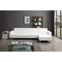 This sleek and stylish sleeper sectional features reversible chaise, 3 positions adjustable sofa back, modern chromed legs, upholstered with high-quality leatherette. It offers a right cozy touch when you sit or lie on it. Perfect for the living room, den, or home office.