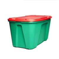 Homz® 49 gallon holiday storage container with wheels is perfect for seasonal holiday decorations. The snap on lid secures safely in place and the wheels make transporting heavy items easier. Stack multiple containers on top of one another and save valuable storage space.