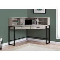 When you need a compact yet spacious work area then this unique, contemporary style corner writing desk will fit the bill! With expanded storage options, the spacious desktop is fitted with an open, angled hutch that includes adjustable shelving to neatly organize all your office essentials within easy reach. Two storage drawers accented with plastic handles, keep things tidy and out of sight. The metal framing elevates the whole design into a stylish and practical workspace. Finished on all...