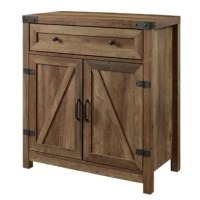 This Johnny 2 Door Accent Cabinet hides away extra plates and provides closed storage options with two-doors and a drawer with telescoping metal drawer glides. Behind the attractive barn doors, there is a single, adjustable shelf. The exposed hardware and handles feature an antique bronze metal finish that enhances the rustic tone of this storage unit.