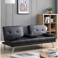 This convertible sofa features a fold-down center console with built-in cup holders, which can be easily transferred to be a bed. It best suits any apartment, living room, playroom, TV room, study room, and bedroom. Built on a solid and manufactured wood frame, support with chromed legs, this leatherette upholstered sofa bed functions great as sofa and bed at the same time without sacrificing the beauty of your room.