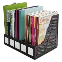 Keep magazines, catalogs, file folders and other literature neat and accessible. Separate compartments help organize materials and keep them upright. Large labeling area on front to clearly identify contents for quick retrieval and easy filing, white labels included. Durable plastic.