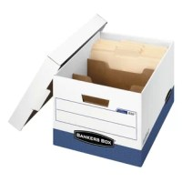 Heavy duty, triple-end, double-side construction stacks up stronger and withstands frequent handling. FastFold quick and easy assembly. Reinforced tear-resistant hand holes make box comfortable to carry. Deep, locking lift-off lid stays in place for secure file storage. Smooth rolled edges add strength and prevent paper cuts.