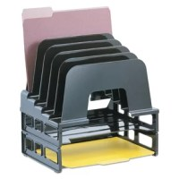 Sorter offers a total space-saving, three-piece sorting and filing system. Consists of two stacking, side-loading letter trays and a stacking, five-compartment incline sorter.