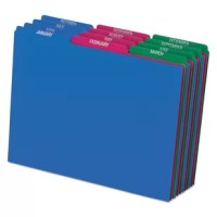 Organize files with colorful guides featuring preprinted top tabs, and see their status at a glance. Tear-, wear- and moisture-resistant polypropylene is extremely durable and ideal for active filing systems. Manufacturer's lifetime guarantee. Assorted colors: blue, green, magenta, strawberry and yellow.