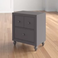Bring traditional style to the bedside with this nightstand! Crafted from solid and manufactured wood, it stands atop turned legs and features a streamlined body awash in a neutral finish. A pair of drawers slide out on wood glides to offer you plenty of room to tuck away small-scale accents and keep them close at hand as you snooze. The tabletop gives you spots to set up a lamp or set down a glass of water.