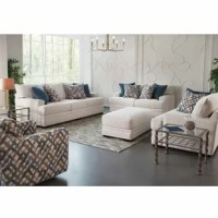 This Configurable Living Room Set is upholstered in Orlando Snow, an off-white polyester fabric. The accent pillows are in Saxon Denim a dark blue shade and an interwoven line pattern in shades.