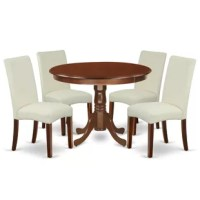 Chillon 5 Piece Rubberwood Solid Wood Breakfast Nook Dining Set